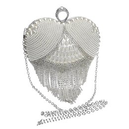 Wholesale Heart Shape Clutches - Wholesale-HOT Heart tassel rhinestones women evening bags pearl lady's handle evening bag ring diamonds clutches