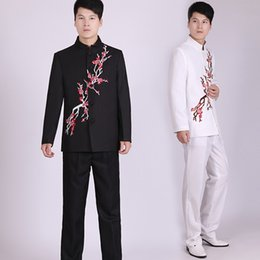 Wholesale Tunic Suits Men - Wholesale- Embroidery Plum Tunic Traditional Stand Collar Suits Costume Male Embroidery Suit Chinese wedding dress Ancient Costume tunic