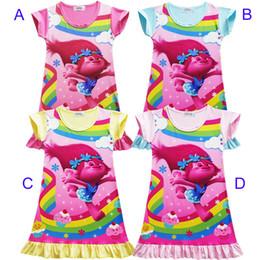 b77d05f835 4 Chicas de color Trolls Poppy Branch vestido de princesa Nuevos Trolls de  niños de dibujos animados de manga corta Pijamas vestidos Ropa para niños  B001