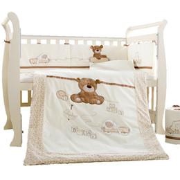 Wholesale Cot Sheets Sets - 9Pcs Set Cotton Baby Cot Bedding Set Newborn Crib Bedding Detachable Quilt Pillow Bumpers Sheet Cot Bed Linen 4 Size