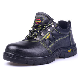 Wholesale Steel Sole Shoes - western style Cotton shoes anti-static Shoes anti puncture steel Baotou high safety shoes Top layer leather Rubber sole