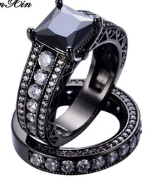 Wholesale 14k Gold Onyx Ring - New Fashion Big Geometric Ring Sets Black Gold Filled Crystal Jewelry Vintage Wedding Rings For Men And Women Gifts