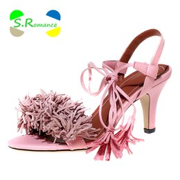 Wholesale Size 32 Sandals - Wholesale-Women Sandals Plus Size 32-43 Tassel Ankle Strap Med Thin Heels Nubuck Leather High Quality New Fashion Shoes SS457