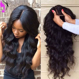 Wholesale Light Brown Blonde Wigs - Cheap body wave Synthetic Lace Front Wigs Heat Resistant Long Black  brown   blonde   burgundy lace front sythetic Wigs for black women