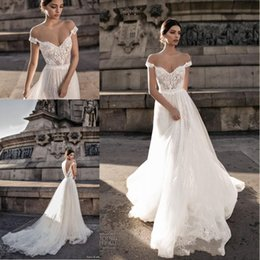 Wholesale Off White Lace - Gali Karten 2018 Sexy Wedding Dresses Sheer Backless Bohemian Off The Shoulder Lace Appliqued Wedding Gowns BA7125