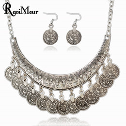 Wholesale Vintage Bohemia Jewelry - 2017 Fashion Vintage Collier Femme Coins Jewelry Sets Maxi Necklaces Earrings For Women Bohemia Collares for Women