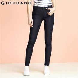 Wholesale Vetement Femme Slim - Wholesale- Giordano Women Jeans Solid Slim Fit Jean Pants Stretchy Trousers Femme Denim Clothing Ladies Casual Apparel Vetement