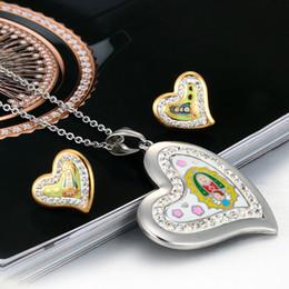 Wholesale Girls Enamel Earrings - New Hot Sale Brand Desiger Love Heart Jewelry Set Gold Plated Stainless Steel Enamel Jewelry Set For Gift