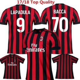 Wholesale Honda Ac - Soccer Jersey AC Milan 17 18 Football Shirts Bacca Honda Montolivo Lapadula AC Milan Home camisetas de futbol Deulofeu Maillot Ninos Kids