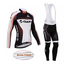 Wholesale Giant Cycling Pants - New team Giant cycling jersey Men Winter thermal Fleece cycling clothing long sleeve bib pants set cycling clothes Riding bike maillot C2202