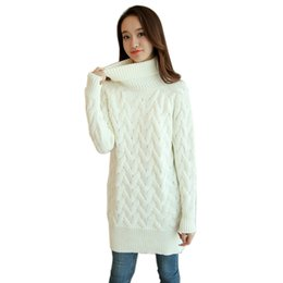 Wholesale Long Turtleneck Dress For Women - Wholesale-2016 Fashion Autumn Winter Thick Twist Long Sweater Dress For Women Long Knitted Dresses Turtleneck Sweaters And Pullover Jumper