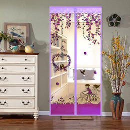 Wholesale Magnetic Mosquito Curtain Door - Magnetic Soft Curtains Bedroom Free Summer Mosquito Screen Sheer Curtains Encryption of Salmonella Romantic Painted Avoiding Screen Door Mos