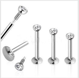 Wholesale Piercing Needles Jewelry - 1.2*6*8 10 stainless steel needle threaded lip studs labret piercings for women sexy nose rings fashion pricing bijoux de corps