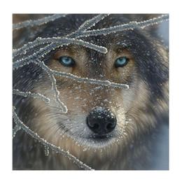Canada Blue Eye Wolf Motif DIY Diamant Peinture Broderie 5D Point De Croix Crystal Square Unfinish Maison Chambre Mur Art Décor Artisanat Cadeau Offre