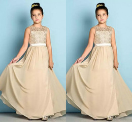 Wholesale Little Girl Princess Photos - Princess A Line Chiffon Champagne Flower Girl Dresses 2018 New Lace Top Sleeveless Little Girls Birthday Pageant Gowns For Weddings