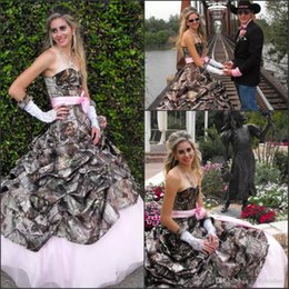 Wholesale Strapless Halter Beach Dress - 2017 Camo and Pink Wedding Dresses Strapless with Pink Belt Camouflage Vestido De Novia Spring Glamorous Bridal Gowns Custom Dress 2018