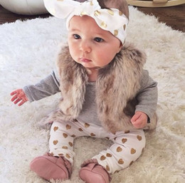 Wholesale Newborn Winter Suit - 2017 Autumn style infant clothes baby clothing sets Newborn Baby Girl clothes set Long Sleeve Romper+Pants +Headband 3Pcs suit