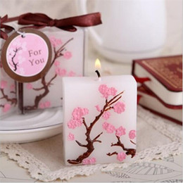 Wholesale Wholesale Giveaways - Free Shipping 50PCS Cherry Blossom Candle Favors Bridal Shower Wedding Giveaways Anniversary Souvenirs Party Gifts