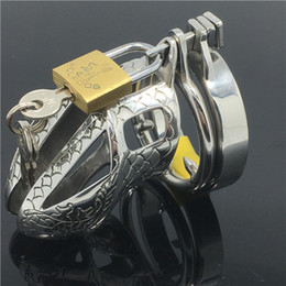 Wholesale Dragon Penis Sleeve - Dragon Totem Male Chastity Device Special Belt Stainless Steel Penis Sleeve Adult Game Cock Cage MKC014