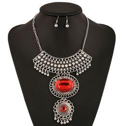 Wholesale Red Gemstone Earring Jewelry - Aulic elliptical gemstone necklace women exaggerated diamante pendant hot sale Euramerican retro earring necklace set luxury fashion jewelry