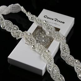 "Wholesale Black Leather Sash - Wholesale- 1 Yard Silver Rhinestone Trim Crystal Rhinestone applique for wedding sash 1"""