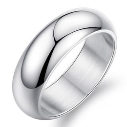 Canada belle fiançailles Mens 7mm argent titane anneaux de mariage en acier inoxydable à doigts haute doré poli 18k bande d'or blanc Offre