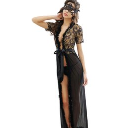 Wholesale Night Dresses Long Sleeves - Black Leopard Long Dress Women Lingerie Sexy Appeal European Nightgown Nightwear Sexy Night Dresses Transparent Bathrobe
