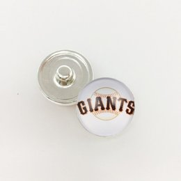 Wholesale Giants Jewelry - 18MM Baseball Team Sports Metal Button Snap San Francisco Giants Metal Snap Jewelry Fit For Button Snap Charm DIY Bracelet