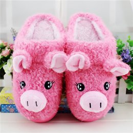 Wholesale House Keeping - Wholesale- 2016 Winter New Cute Cartoon Cotton Slippers The Pig Half A Pack with Slippers Keep To Warm Non-slip Couples House Slippers