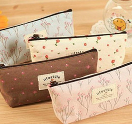 Wholesale Canvas Business Cards - Vintage Floral Fabric Coin Purse wallet pencil Pen Case Cosmetic Makeup Bag Storage Pouch Students Stocking Filler Gift Party favor 4colors