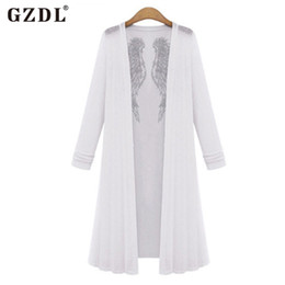 Wholesale Size Coat Maxi - Wholesale-2016 Fashion Spring Autumn Women Ladies Angel Wing Floaty Open Front Ruffles Maxi Cardigan Jacket Coat Outwear Plus Size CL2545