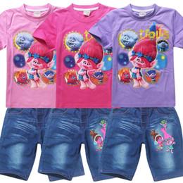 Wholesale Light Purple Wholesale T Shirts - Summer children outfits Trolls cartoon girls clothing sets short sleeve T-shirt top tees + denim shorts pant 2 pcs kids suit