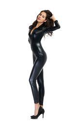 Wholesale Leather Catsuit Hot - Women Black Patent Leather Jumpsuit Hot Pole Dancing Catsuit Wetlook Leotard Bodysuit Night Clubwear