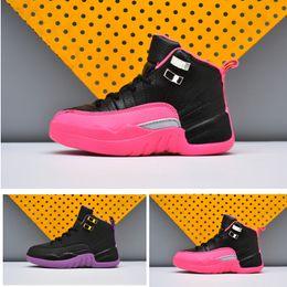 low priced e4029 5e2a5 Acheter Nouveau XII 12 Enfants Chaussures De Basketball Black Deadly Pink  Infant Enfants Athlétique Black Violet Sports 12s GG BG Toldder Sneaker De   38.53 ...