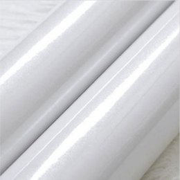 Wholesale Gloss White Wrap - Waterproof High Gloss Glittery White Pearl Peel Sticker Vinyl Wrap Film Home Countertop Decals 24-Inches by164-Feet Declrative self-adhesive