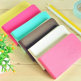 Wholesale Mini Notebook Color - Cute Smiling Face Notepads Carry On Memo Small Notebook Mini Strip Notepad A Variety Of Color Inside Page Jotter Universal 0 98xc R
