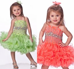 Wholesale Infant Spaghetti Strap - Spaghetti Straps Kids Coral And Green Girls Puffy Dresses Infant Pageant Dresses First Holy Communion Dresses HY1315