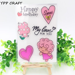 Wholesale Kids Clear Glasses - Wholesale- YPP CRAFT 1 Sheet Transparent Clear Silicone Stamps for DIY Scrapbooking Card Making Kids Fun Decoration Supplies Happy Birthday