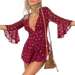 Wholesale Cherry Romper - Apparel Gilding cherry chiffon elegant jumpsuit romper Summer style beach playsuit Women sexy deep v neck short overalls
