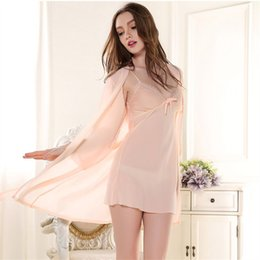 Wholesale Sexy Transparent Nightgowns - Wholesale- Silk Sexy 2Pcs Women Robe Set Women's Twinset Cardigan Robe Silk Long Spaghetti Strap Nightgown Transparent Chiffon Sleepwear 04