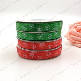 Wholesale Grosgrain Ribbon Printed Roll - New Red Green Christmas Ribbon Printed Snowflake Grosgrain Ribbon For Home Decoration 1CM Wide 91meter  roll HA202