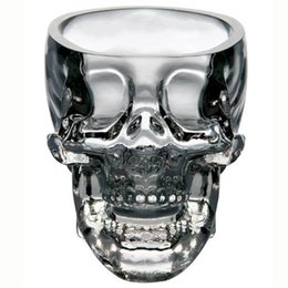 Wholesale Skull Beer Mug Glass - Crystal Skull Cup Skull Head Wine Glasses Vodka Whiskey Shot Glass Double Layer Pirate Vaccum Glasses Beer Mug Drinking Ware