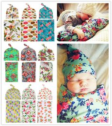 Wholesale baby thermal blankets - Newborn Baby Swaddle Wrap Blanket Hat set Baby Floral Swaddle Knot Caps Baby Cotton wrap cloth Kids flower print Swaddling Robes BHBZ02