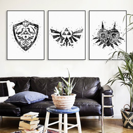 Wholesale Large Canvas Paintings Wall Decor - Legend Of Zelda Black White Logo Canvas No Frame Large Art Print Poster Wall Pictures Vintage Retro Triptych Home Decor Painting