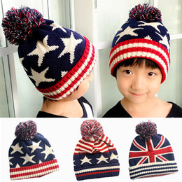 Wholesale Beanies Hats For Kids - 2017 Autumn Winter Hat Children Kids Flag Cotton Beanies Cap Pom Pom Ball Knitted Wool Warm Hats Stripe and Stars Hats For Kids Christmas