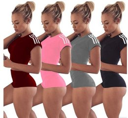 Wholesale Crop Top Jogging Suit - Sports Jogging Suits For ladies summer new women short-sleeved cotton stripe stitching Crop Top And Shorts 2 Piece Set Fitness Tracksuit