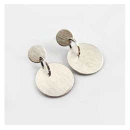 Wholesale Earring Big Statement - Luxury Wire Drawing Surface Big Small Coin Link Metal Statement Earring 18K Gold Imitation Rhodium MinimalGeometry Earring Stud OEM ODM