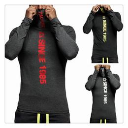 Wholesale Mens Cycling Tights Long - T Shirts for Men Fashion Mens Sports Gym Casual High Collar Long Sleeves Tight Cycling T-shirts Size:XS-XL