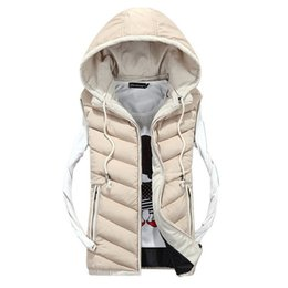 Wholesale Men Vest Jacket Hood - Wholesale- 2016 Brand New Men's hood Leisure Outerwear Casual Vest Men Winter Coat Warm Sleeveless Jacket Men Solid Waistcoat mz267