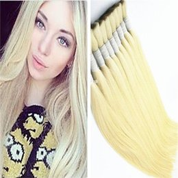 Wholesale Machine Attachments - 8A Blonde Straight Hair Bulk 3Pcs Lot Bulk For Braiding No Attachment Brazilian Hair Queen Hair